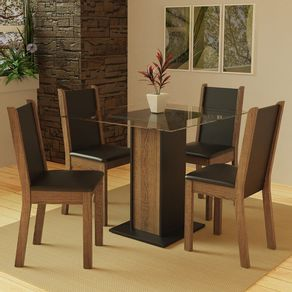 Conjunto Sala de Jantar Madesa Aline Mesa Tampo de Vidro com 4 Cadeiras Rustic/Preto Cor:Preto/Rustic