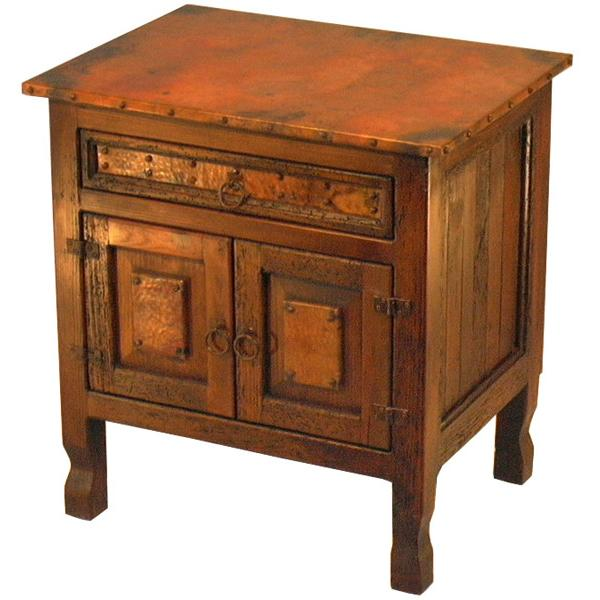 Country Copper Nightstand with Antique Black Finish