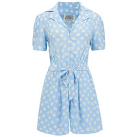 Emma Playsuit Powder Sky Blue Moonshine by The Seamstress of Bloomsbury, Classic 1940s Vintage Style