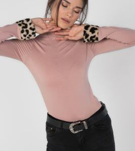 Foundation Leopard Cuffed Turtle Neck Top, Pink