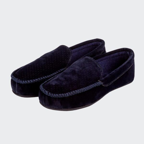 Isotoner Airtex Suedette Moccasin Slippers - Navy