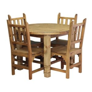 Large Round Julio Dining Table w/ Four New Mexico Chairs