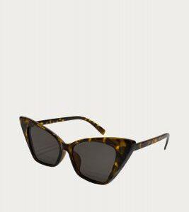 Leopard/Black Acrylic Cat Eyes Sunglasses, Black