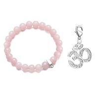 Om Rose Quartz Gemstone Charm Bracelet
