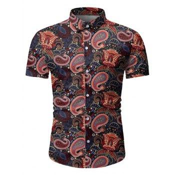 Paisley Leaf Pattern Short Sleeves Shirt