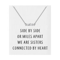 Silver Sister Necklace with Quote Card