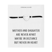 Sterling Silver Mother and Daughter Quote Heart Bracelet