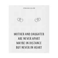 Sterling Silver Mother and Daughter Quote Heart Link Earrings