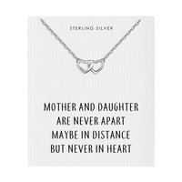 Sterling Silver Mother and Daughter Quote Heart Link Necklace