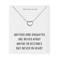 Sterling Silver Mother and Daughter Quote Heart Necklace