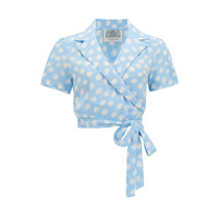 """The 1940s Vintage Inspired Wrap Style """"Greta"""" Blouse in Sky Blue Moon Shine by The Seamstress Of Bloomsbury"""