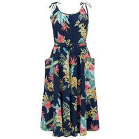 """The """"Suzy Sun Dress"""" in Navy Honolulu Print, Easy To Wear Tiki Style From The 50s"""