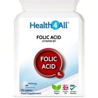 Vitamin B9 Folic Acid 400mcg Tablets (Units: 90 Tablets)