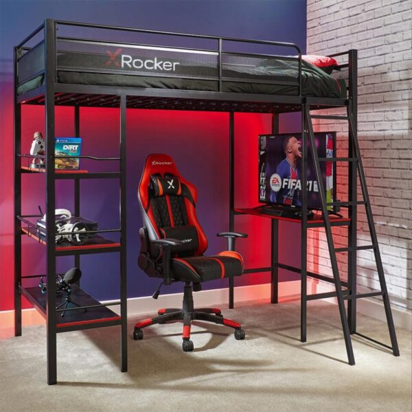 X Rocker Fortress Gaming Bunk Bed with Desk