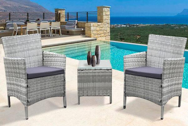 3-Piece Rattan Garden Furniture Set | Black