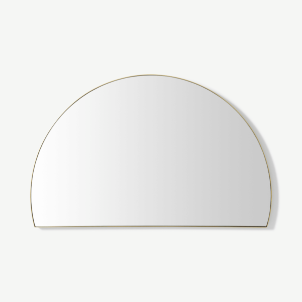 Arles Semi-Circle Wall Mirror, 54 x 85cm, Brushed Brass