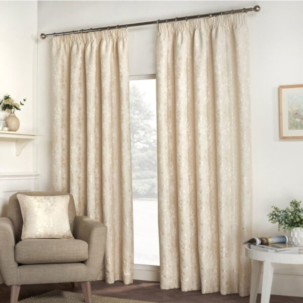 Blossom Natural Floral Lined Pencil Pleat Curtains (Pair)