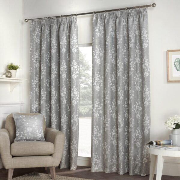 Blossom Silver Grey Floral Lined Pencil Pleat Curtains (Pair)