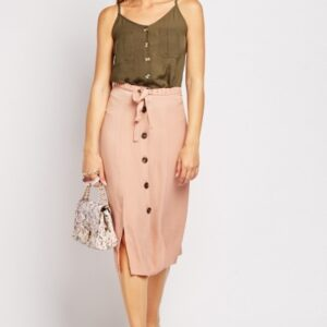 Button Front Nude Midi Skirt