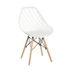 Cadeira Cloe em Madeira e PP Branca