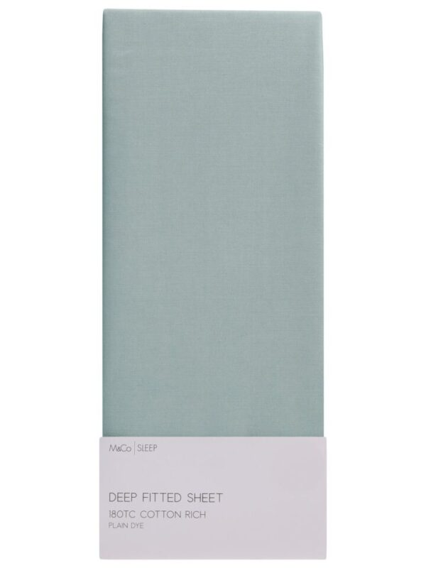Double Fitted Sheet - 180Thread Count - Cot - Duck Egg