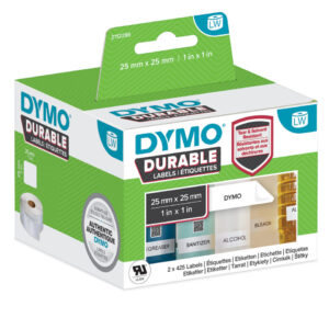 Dymo 2112286 LW Durable square multi-purpose 25mm x 25mm Black on Whit