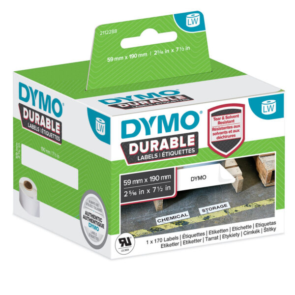 Dymo 2112288 LW Durable Large Shelving label 59mm x 190mm Black on Whi