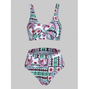 Ethnic Flower Print Bowknot Padded Tankini Swimwear