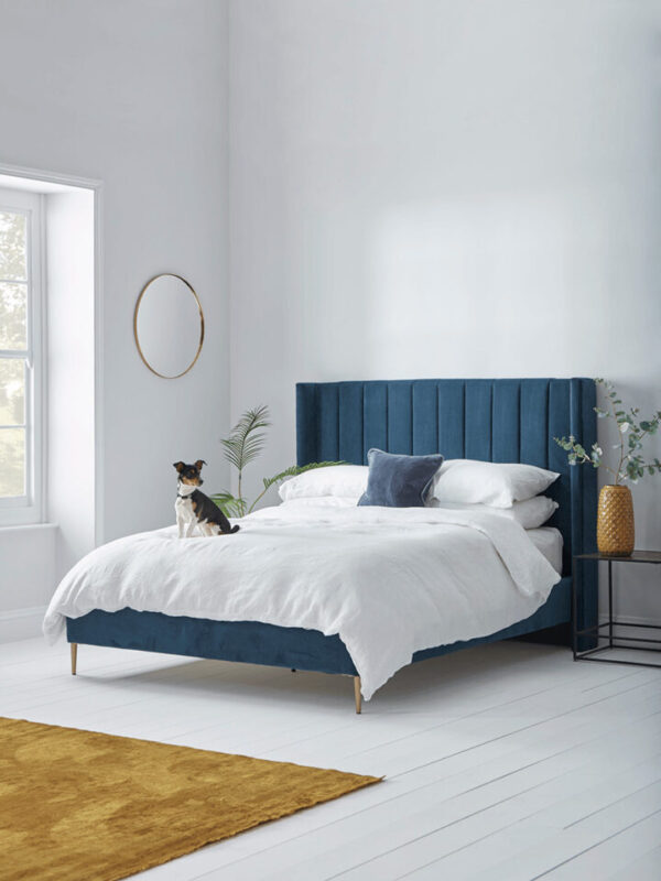 Fluted Velvet Super King Bed - Deep Blue