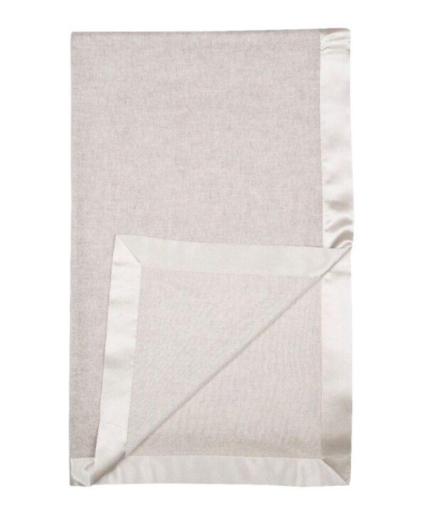 Fortnum & Mason Begg & Co, Arran Baby Blanket with Satin Trim, Silver