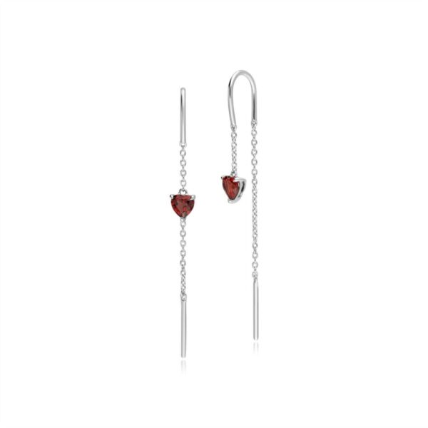 Garnet Heart Threader Earrings in 9ct White Gold