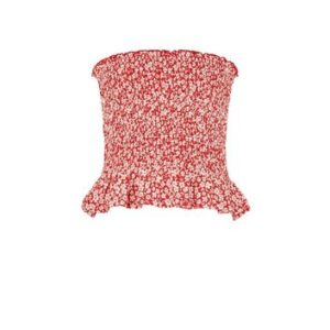 Girls Red Floral Shirred Peplum Bandeau Top New Look