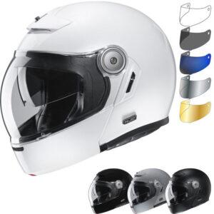HJC V90 Plain Flip Front Motorcycle Helmet & Visor - Stone Grey, Stone Grey