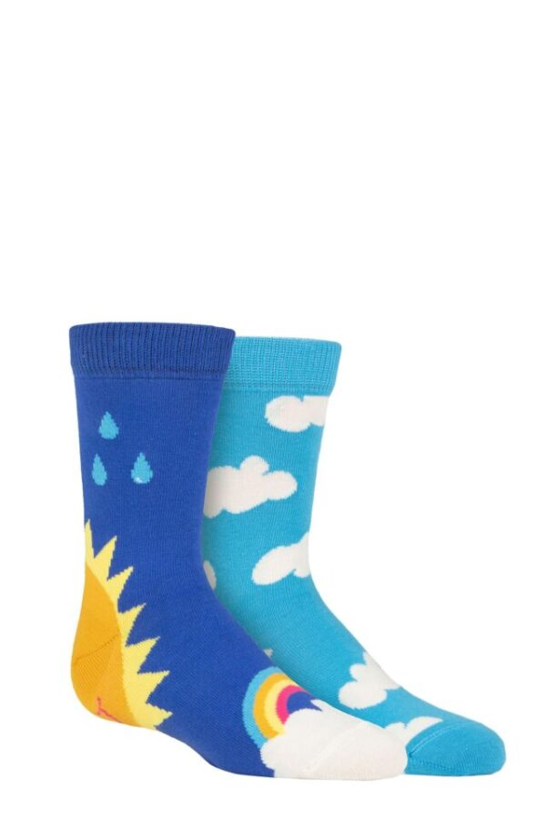 Kids 2 Pair Happy Socks After Rain Socks Multi 7-9 Years