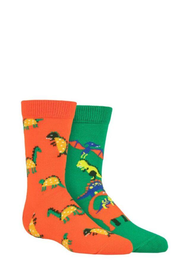 Kids 2 Pair Happy Socks Dinos Socks Multi 7-9 Years