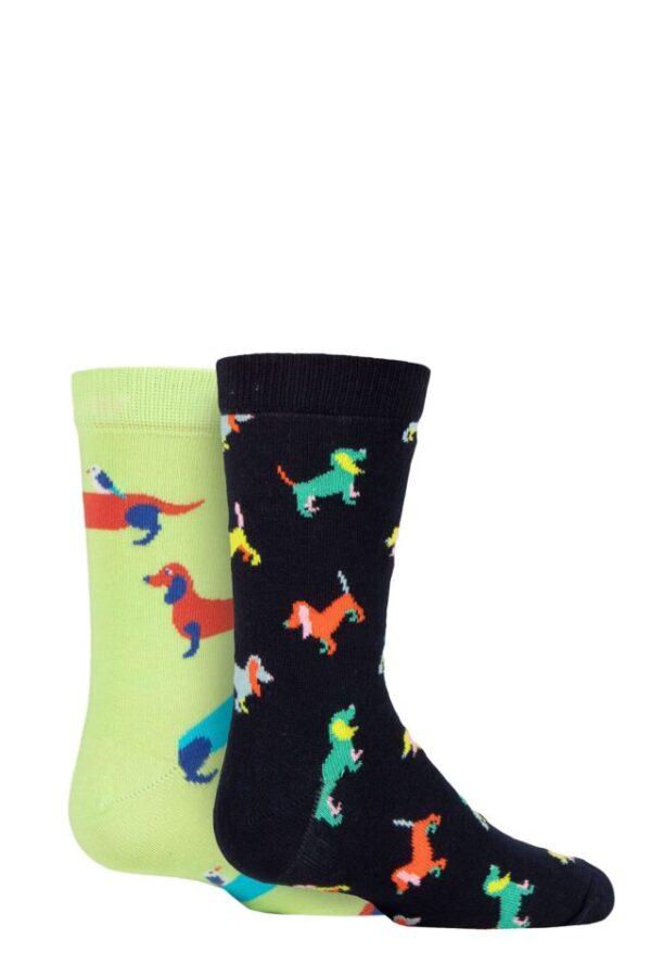 Kids 2 Pair Happy Socks Dogs Socks Multi 4-6 Years