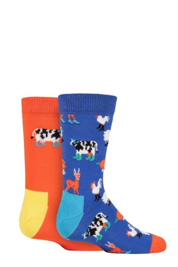 Kids 2 Pair Happy Socks Farmlife Socks Multi 7-9 Years