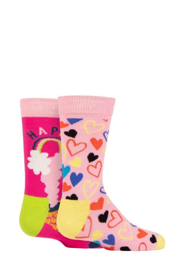 Kids 2 Pair Happy Socks Happy Love Socks Multi 7-9 Years
