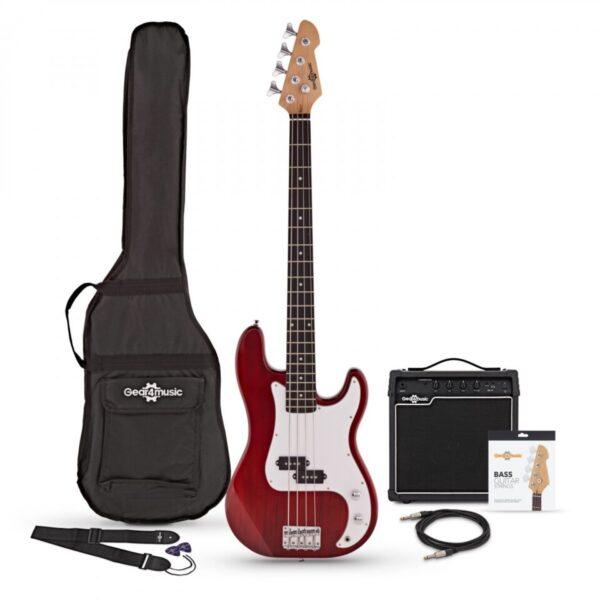 LA Bass Guitar + 15W Amp Pack Red