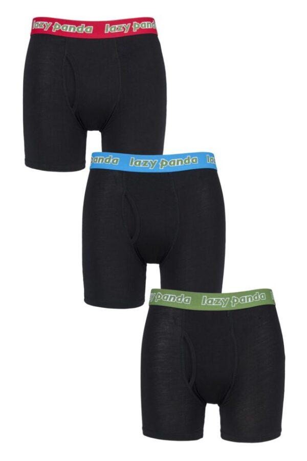 Mens 3 Pack SOCKSHOP Lazy Panda Bamboo Boxer Shorts Black / Red / Green XXL