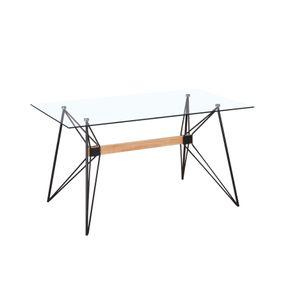 Mesa para Sala de Jantar Retangular em Aço e Vidro Araca Preta 0,80x1,20m