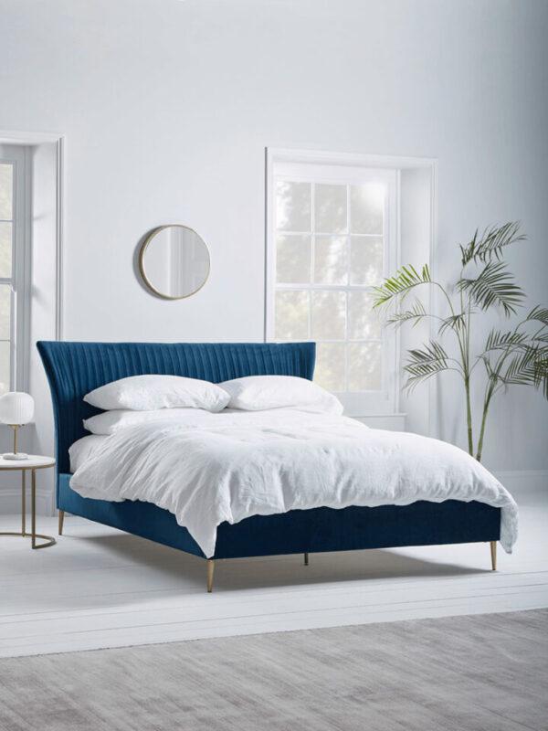 NEW Pleated Velvet Super King Bed - Deep Blue