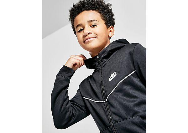 Nike Tape Poly Full Zip Hoodie Junior - Black/White - Kids, Black/White