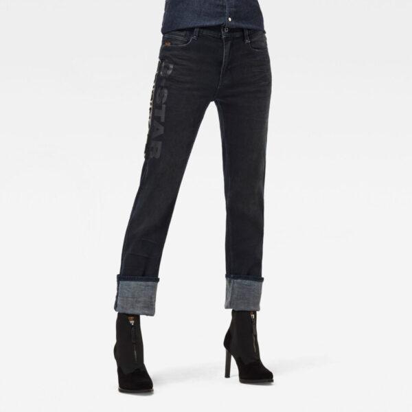 Noxer Straight Artwork Jeans - Dark blue - Women