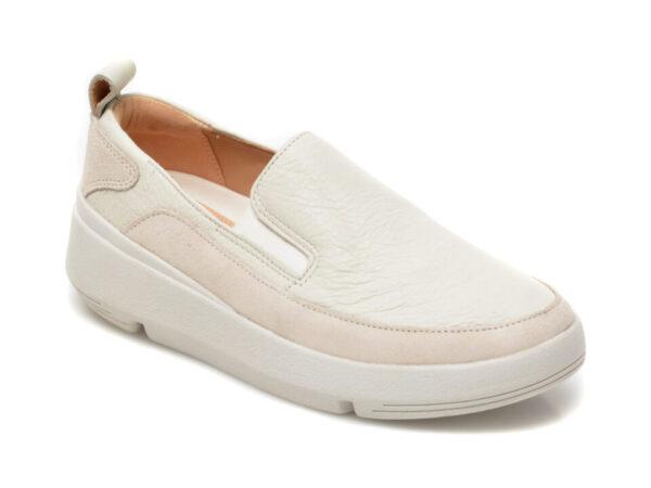 Pantofi CLARKS albi, Tri Flash Step, din piele naturala