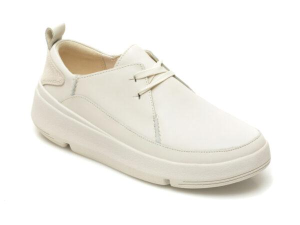 Pantofi CLARKS albi, Tri Flash Walk, din piele naturala