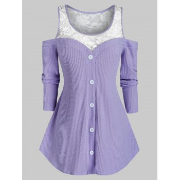 Plus Size Lace Insert Sheer Open Shoulder Sweater