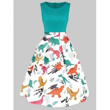 Round Neck Dinosaur Print Flare Dress