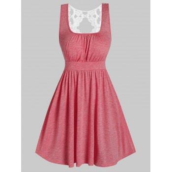 Sleeveless Lace Insert Heathered Casual Dress