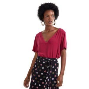 T- Shirt Malha Com Seda Decote v Rosa Sari
